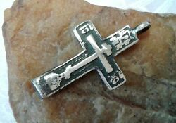 Rare Antique C.17-18th Century Silver Old Believers Orthodox Cross The Keeper