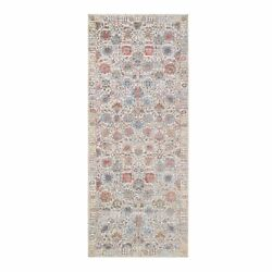 4'1x10'3 Ivory Tebraz Silk With Textured Wool Hand Knotted Runner Rug G63245