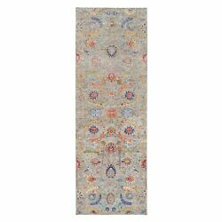 4'1x12'2 Taupe Sickle Design Silk And Wool Hand Knotted Wide Runner Rug G63215