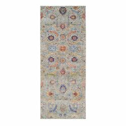 4'1x10'3 Silk And Wool Hand Knotted Taupe Sickle Design Wide Runner Rug G63214
