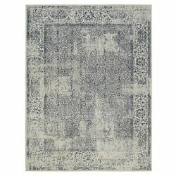 9and0391x12and039 Hand Loomed Light Gray Fine Jacquard Wool And Art Silk Rug G63256