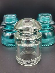 Vintage Hemingray 42 Blue And Clear Glass Telephone Wire Insulators Antique Decor