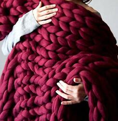 Soft Luxury Chunky Knitted Blankets Thick Yarn Braided Throw Comfy Blanket Fo...
