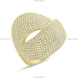 14k Yellow Gold Natural Diamond Bypass Band Engagement Ring For Women