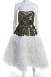 Alexandra Vidal Womens Strapless Beaded Feathered Drop Waist Gown White Size 4