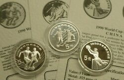 China Football World Cup Italia'90 3x Sterling Silver Proof 5 Yuan Coins 1989-90