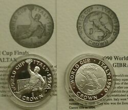 Italia '90 World Cup Football 2x Gibraltar .925 Silver Proof 1 Crown Coins 1990