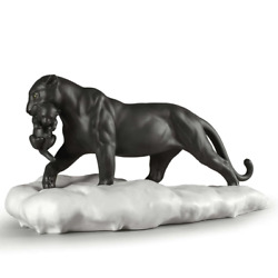 Lladro Black Panther With Cub Figurine 01009382