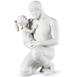 Lladro In Daddy's Arms Figurine White And Gold 01009392