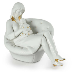 Lladro Feels Like Heaven Mother Figurine White And Gold 01009381