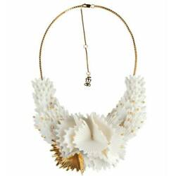 Lladro Actinia Necklace White And Golden Luster 01010286
