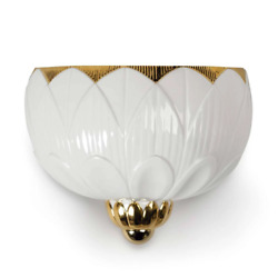 Lladro Ivy And Seed Wall Sconce Lamp White And Gold 01023993