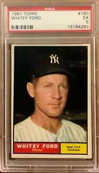 Whitey Ford 1961 Topps #160 NY Yankee and Hall of Fame player PSA 5