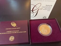 2020 W American Eagle 1oz Gold Uncirculated Coin - Last Year - 20eh