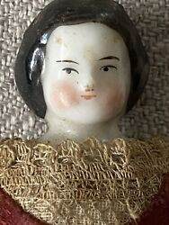 Genuine Porcelain China Doll 5andrdquo Circa 1850 Vintage Very Rare Embroidery