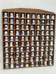 Thimble Display Case With 100 Thimbles Well Made Brown Lovely Collectible