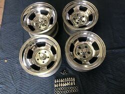 4 Polished Chevy 15x8 1/2 And 15x7 Vintage American Racing Slot Mag Chevy 4 3/4