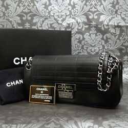 Logos Metal Quilted Lamb Leather Black Chain Shoulder Bag 2324 Rise-on