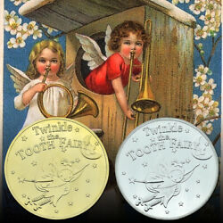 Twinkle Tooth Fairy Gold Coin Commemorative Silver Coin Art Metal Craft Gift 2pc