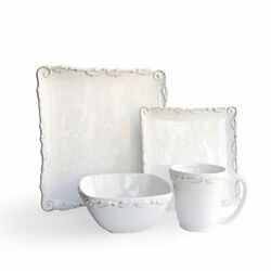 American Atelier Square Dinnerware Sets | White Kitchen Plates Bowls And Mugs...
