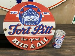 Fort Pitt Beer And Ale Heavy Porcelain Sign 12 Inch Round Nice Looking Sign