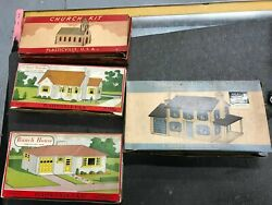 Four Plasticville O Gauge Rancher Ranch House Church 2 Story Colonial House