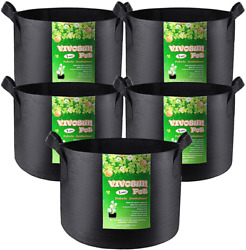 Vivosun 5-pack 1 Gallon Grow Bags Heavy Duty Thickened Nonwoven Fabric Pots With