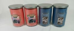 Lot of 4 Yankee 22oz 2 Wick Candles 2 Warm Luxe Cashmere amp; 2 Cliffside Sunrise