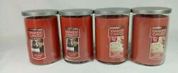 Lot of 4 Yankee 22oz 2 Wick Candles 2 Kitchen Spice amp; 2 Sugared Cinnamon Apple