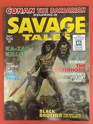 Savage Tales Vol. 1 1 Man-thing Spine Deterioration Small Hole Bc See Pics