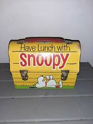 1968 Have Lunch With Snoopy Peanuts Dome Metal Lunchbox Collectible No Thermos