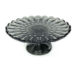 Vintage Anchor Hocking Fairfield Smoke Gray Pressed Glass 10 Cake Stand