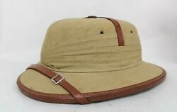 French Colonial Pith/cork Helmet, Cotton Leather Size 7 1/4 Tan Color Sun Hat