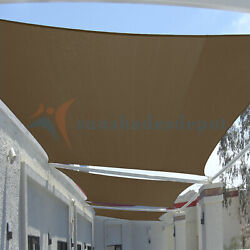 Brown 29 Ft Heavy Duty Steel Wire Cable Sun Shade Sail Canopy Patio Pool