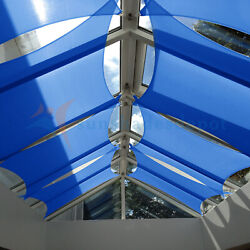 Blue 33 Ft Heavy Duty Steel Wire Cable Sun Shade Sail Canopy Patio Yard