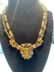 Rare Vintage Unsigned Miriam Haskell Gilt Amber Glass Pear Andab Necklace
