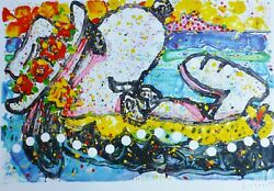 Tom Everhart Chillin Snoopy Peanuts Hand Signed Lithograph