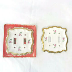 2 Vintage Ceramic Porcelain Light Switch Plate Covers Roses Usa