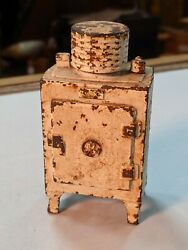Orig. Antique Hubley Cast Iron Still Coin Bank Ge Monitor Top Refrigerator 30's