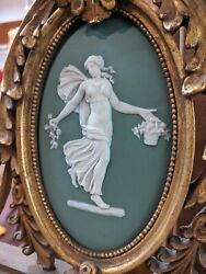 Antique Napoleon 19th C French Wedgewood Cameo Gold Gilt 67 Mirror Torch And Swag