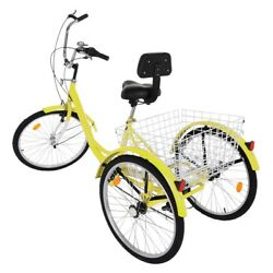 Adult Tricycle 7 Speed Trike 24and039and039 3 Wheels Bike Yellow With Backrest And Basket