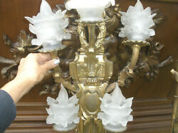 Wow, Rare Large 36 French Antique Gilt Bronze Wall Sconce Lalique Shades