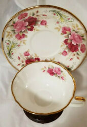Elizabethan Bone China Anniversary Rose Series Cup And Saucer Pink Roses