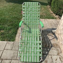 Vintage Aluminum Green Webbed Lawn Chair Chaise Lounge