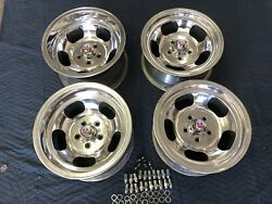 4 Vintage 15x8.5 And 15x7 Polished Real Us Indy Mags Nice 5 On 4 1/2 Ford Mopar