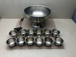 Vintage Woodbury Pewtererand039s Pewter Punch Bowl Serving Ladle Spoon And 12 Cups