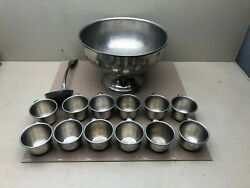 Vintage Woodbury Pewterer's Pewter Punch Bowl Serving Ladle Spoon And 12 Cups
