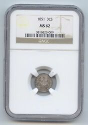 1851 3c Silver, Three Cents, Ngc Ms-62