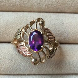 Vibrant Purple Amethyst Yellow Gold And Rose Gold 10k Ring Vintage