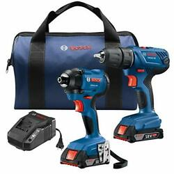 Bosch 18v 2-tool Combo Kit With 1/2 In. Compact Drill/driver And 1/4 In. Hex Imp